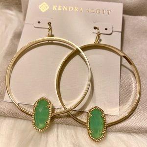 Kendra Scott Elora Earrings Chalcedony Green Gold